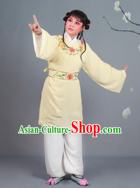 Traditional China Beijing Opera Livehand Costume Scholar Embroidered Yellow Robe, Ancient Chinese Peking Opera Book Boy Embroidery Clothing
