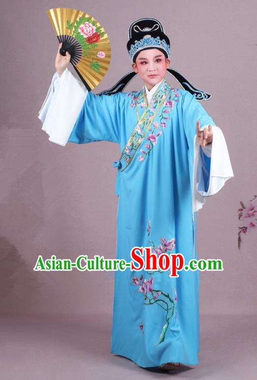 Traditional China Beijing Opera Niche Costume Gifted Scholar Blue Embroidered Robe and Hat, Ancient Chinese Peking Opera Young Men Embroidery Mangnolia Clothing