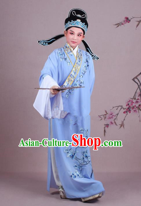 Traditional China Beijing Opera Niche Costume Gifted Scholar Light Purple Embroidered Robe and Hat, Ancient Chinese Peking Opera Young Men Embroidery Mangnolia Clothing