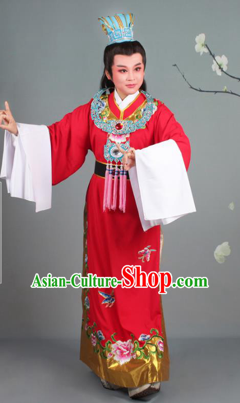 Traditional China Beijing Opera Niche Costume Gifted Scholar Jia Baoyu Red Embroidered Robe and Hat, Ancient Chinese Peking Opera Young Men Embroidery Peony Clothing