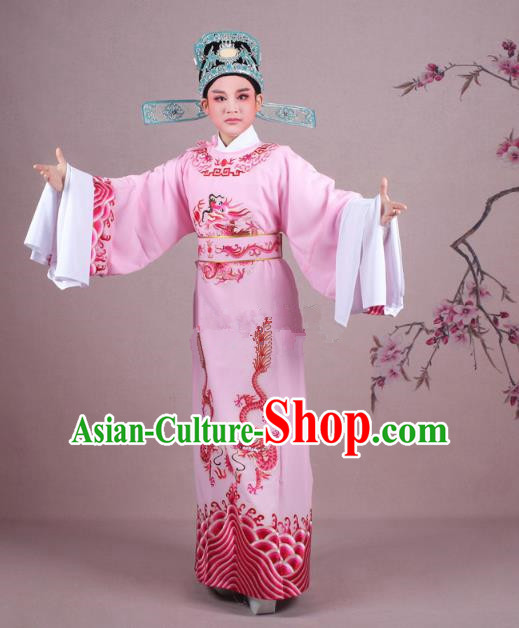 Traditional China Beijing Opera Niche Costume Lang Scholar Pink Embroidered Robe and Hat, Ancient Chinese Peking Opera Magistrate Embroidery Dragons Gwanbok Clothing