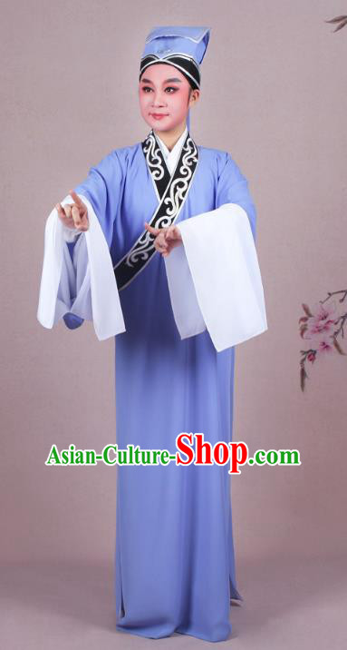 Traditional China Beijing Opera Niche Costume Scholar Embroidered Deep Blue Robe and Headwear, Ancient Chinese Peking Opera Young Men Clothing