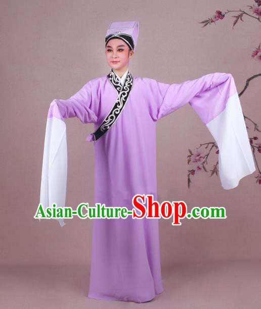 Traditional China Beijing Opera Niche Costume Scholar Embroidered Pink Robe and Headwear, Ancient Chinese Peking Opera Young Men Clothing