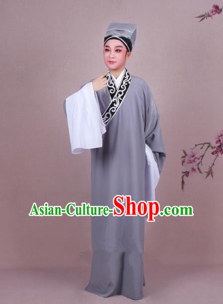 Traditional China Beijing Opera Niche Costume Scholar Embroidered Grey Robe and Headwear, Ancient Chinese Peking Opera Young Men Clothing
