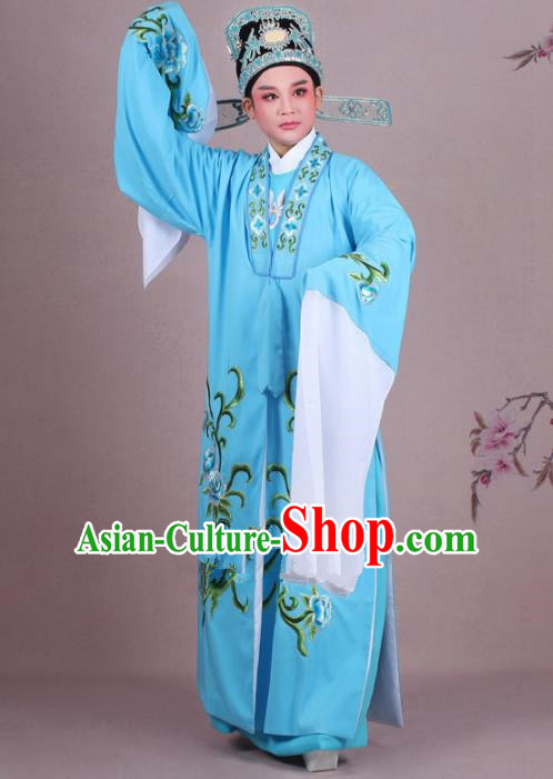Traditional China Beijing Opera Niche Costume Gifted Scholar Blue Embroidered Cape and Hat, Ancient Chinese Peking Opera Young Men Embroidery Peony Clothing