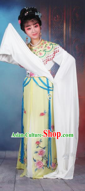 Traditional China Beijing Opera Young Lady Hua Tan Costume Yellow Embroidered Dress, Ancient Chinese Peking Opera Diva Senior Concubine Embroidery Peony Clothing