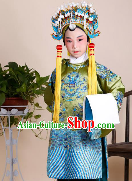 Traditional China Beijing Opera Old Women Costume Embroidered Robe and Headwear, Ancient Chinese Peking Opera Pantaloon Embroidery Dress Clothing for Kids