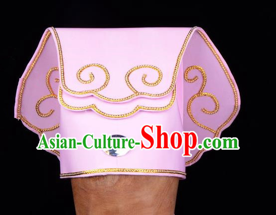 Traditional China Beijing Opera Young Men Hair Accessories Scholar Share-Win Headwear, Ancient Chinese Peking Opera Niche Pink Hat