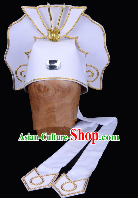 Traditional China Beijing Opera Young Men Hair Accessories Scholar Share-Win Headwear, Ancient Chinese Peking Opera Niche White Hat