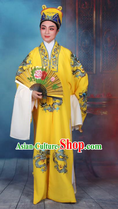 Top Grade Professional Beijing Opera Niche Costume Emperor Embroidered Robe, Traditional Ancient Chinese Peking Opera Embroidery Dragons Clothing
