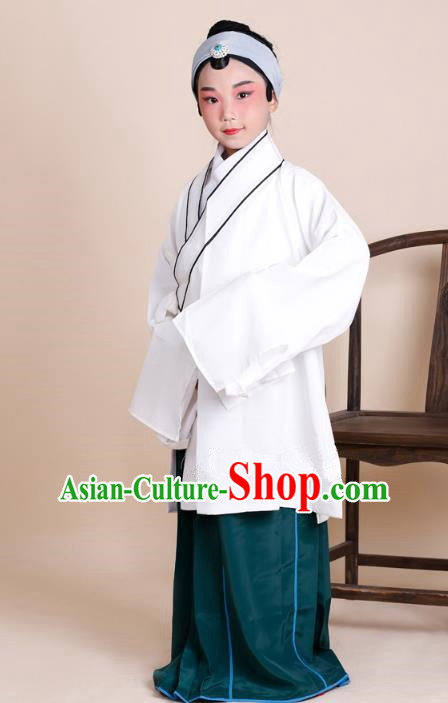 Traditional China Beijing Opera Old Women Costume, Ancient Chinese Peking Opera Pantaloon White Dress Clothing for Kids