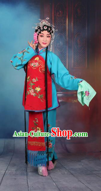 Top Grade Professional Beijing Opera Young Lady Costume Servant Girl Blue Embroidered Clothing, Traditional Ancient Chinese Peking Opera Maidservants Embroidery Clothing