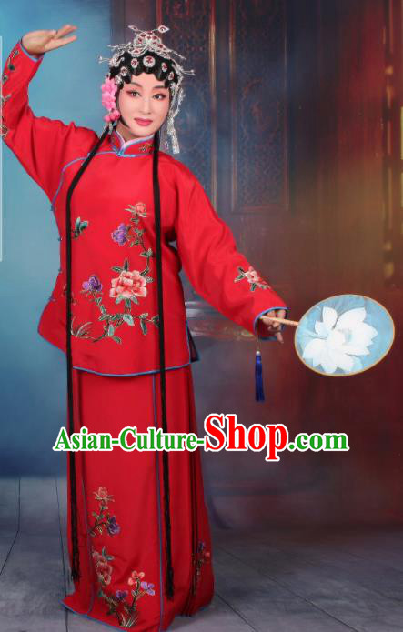 Top Grade Professional Beijing Opera Young Lady Costume Servant Girl Red Embroidered Dress, Traditional Ancient Chinese Peking Opera Maidservants Embroidery Peony Clothing