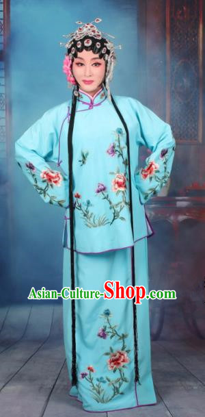 Top Grade Professional Beijing Opera Young Lady Costume Servant Girl Blue Embroidered Dress, Traditional Ancient Chinese Peking Opera Maidservants Embroidery Peony Clothing