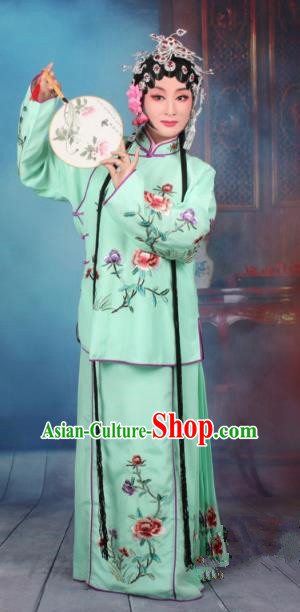 Top Grade Professional Beijing Opera Young Lady Costume Servant Girl Green Embroidered Dress, Traditional Ancient Chinese Peking Opera Maidservants Embroidery Peony Clothing