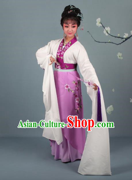 Traditional China Beijing Opera Young Lady Hua Tan Costume Princess Purple Embroidered Dress, Ancient Chinese Peking Opera Diva Embroidery Peach Blossom Clothing