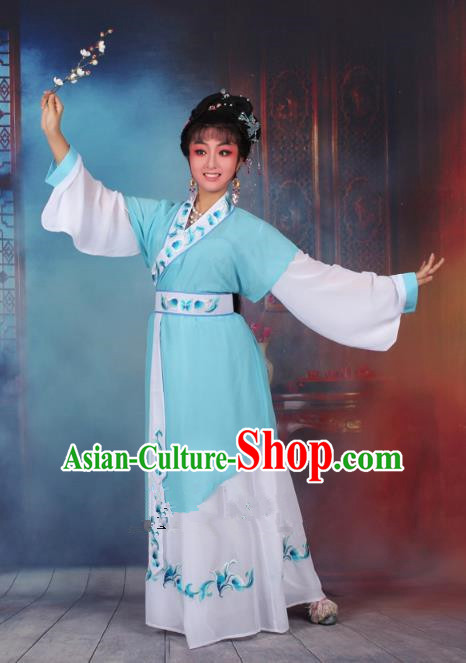 Top Grade Professional Beijing Opera Young Lady Costume Servant Girl Blue Embroidered Dress, Traditional Ancient Chinese Peking Opera Maidservants Embroidery Clothing