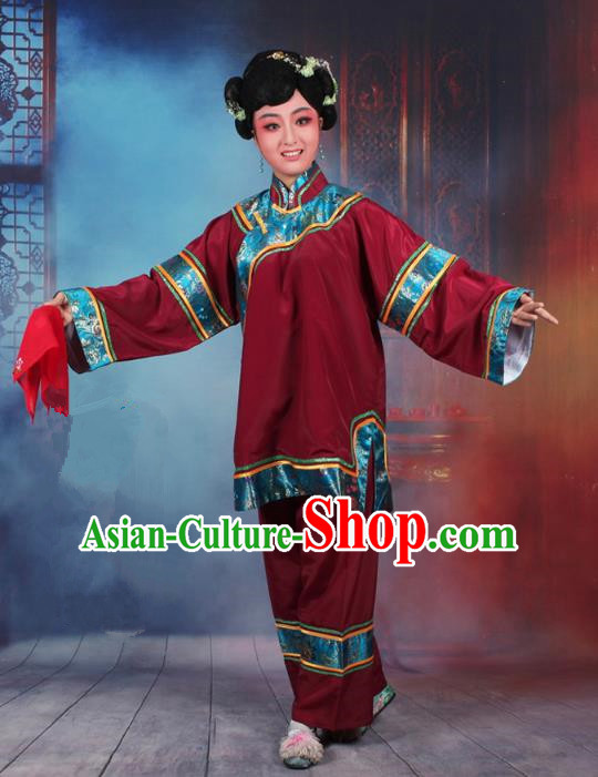 Traditional China Beijing Opera Old Women Costume Matchmaker Embroidered Amaranth Clothing, Ancient Chinese Peking Opera Pantaloon Clothing