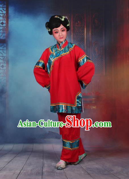 Traditional China Beijing Opera Old Women Costume Matchmaker Embroidered Red Clothing, Ancient Chinese Peking Opera Pantaloon Clothing