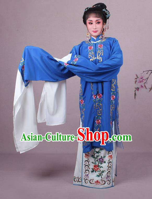 Top Grade Professional Beijing Opera Female Role Costume Deep Blue Embroidered Cape, Traditional Ancient Chinese Peking Opera Diva Embroidery Clothing