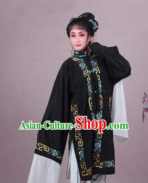 Top Grade Professional Beijing Opera Female Role Costume Black Embroidered Cape, Traditional Ancient Chinese Peking Opera Diva Embroidery Clothing