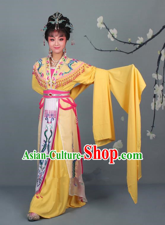 Top Grade Professional Beijing Opera Palace Lady Costume Hua Tan Yellow Embroidered Dress, Traditional Ancient Chinese Peking Opera Diva Embroidery Phoenix Clothing