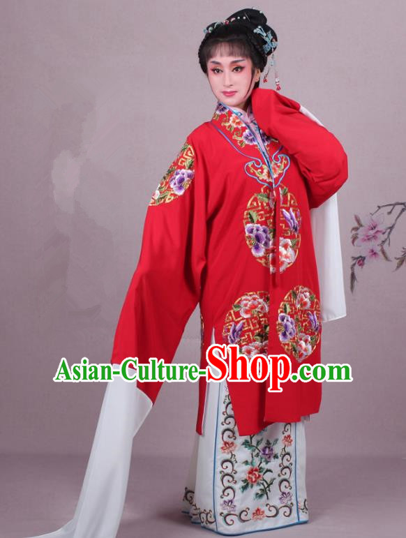 Top Grade Professional Beijing Opera Female Role Costume Imperial Concubine Red Embroidered Cape, Traditional Ancient Chinese Peking Opera Diva Embroidery Clothing