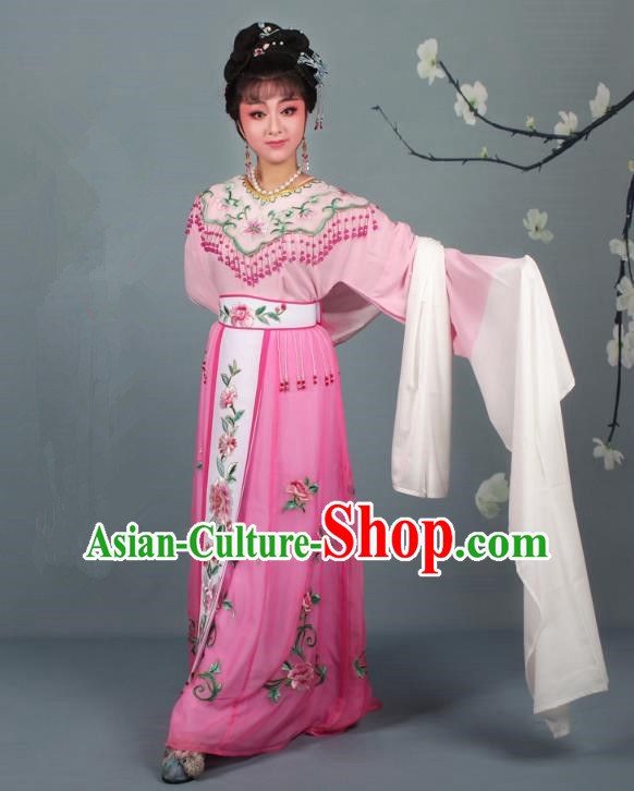 Top Grade Professional Beijing Opera Palace Lady Costume Hua Tan Pink Embroidered Dress, Traditional Ancient Chinese Peking Opera Diva Embroidery Peony Clothing