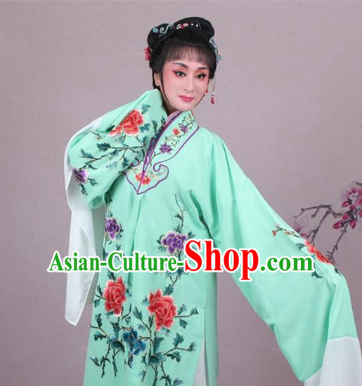 Top Grade Professional Beijing Opera Female Role Costume Imperial Concubine Blue Embroidered Cape, Traditional Ancient Chinese Peking Opera Diva Embroidery Peony Clothing