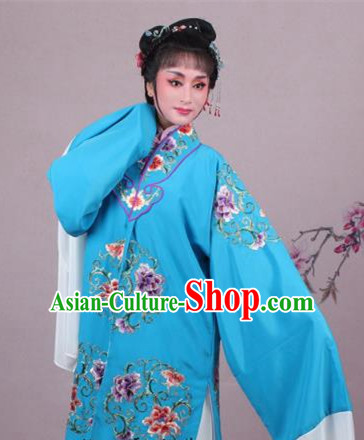 Top Grade Professional Beijing Opera Nobility Lady Costume Princess Blue Embroidered Cape, Traditional Ancient Chinese Peking Opera Diva Embroidery Clothing
