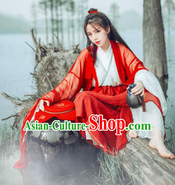Traditional Chinese Jin Dynasty Swordswoman Costume, Elegant Hanfu Clothing Chinese Ancient Heroic Woman Dress Clothing