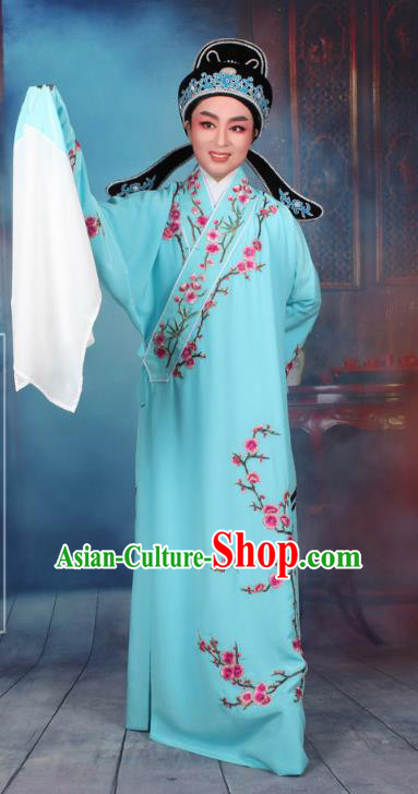 Top Grade Professional Beijing Opera Niche Costume Gifted Scholar Blue Embroidered Robe, Traditional Ancient Chinese Peking Opera Embroidery Wintersweet Clothing