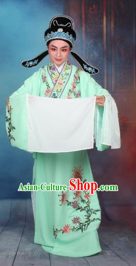Top Grade Professional Beijing Opera Niche Costume Gifted Scholar Green Embroidered Robe, Traditional Ancient Chinese Peking Opera Young Men Embroidery Chrysanthemum Clothing