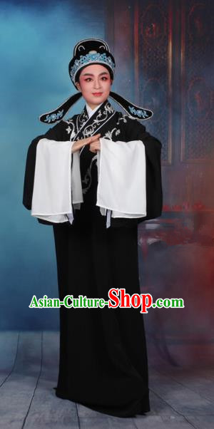 Top Grade Professional Beijing Opera Niche Costume Scholar Black Robe and Hat, Traditional Ancient Chinese Peking Opera Embroidery Clothing