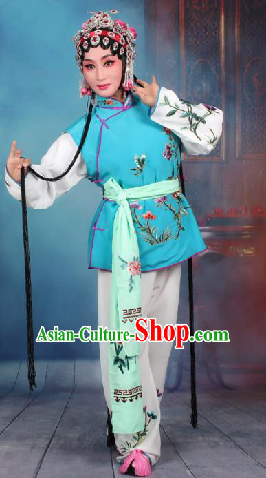 Top Grade Professional Beijing Opera Young Lady Costume Mui Tsai Blue Embroidered Vest Clothing, Traditional Ancient Chinese Peking Opera Maidservants Embroidery Clothing