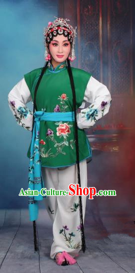 Top Grade Professional Beijing Opera Young Lady Costume Mui Tsai Deep Green Embroidered Vest Clothing, Traditional Ancient Chinese Peking Opera Maidservants Embroidery Clothing