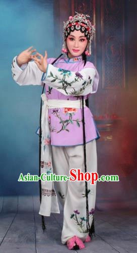 Top Grade Professional Beijing Opera Young Lady Costume Mui Tsai Purple Embroidered Vest Clothing, Traditional Ancient Chinese Peking Opera Maidservants Embroidery Clothing