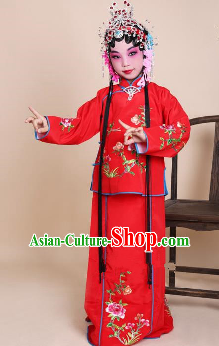 Top Grade Professional Beijing Opera Mui Tsai Costume Red Embroidered Clothing, Traditional Ancient Chinese Peking Opera Maidservants Embroidery Clothing for Kids
