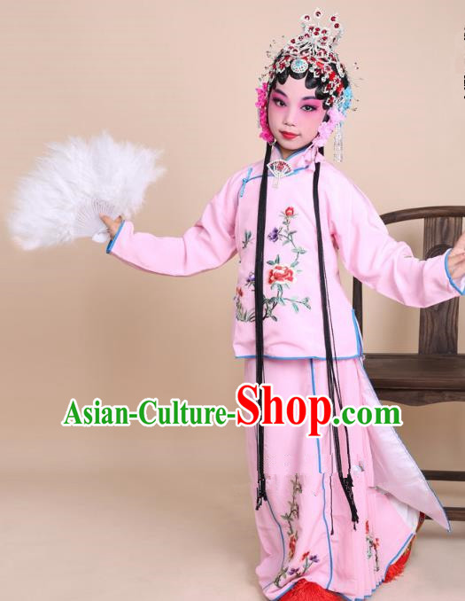 Top Grade Professional Beijing Opera Mui Tsai Costume Pink Embroidered Clothing, Traditional Ancient Chinese Peking Opera Maidservants Embroidery Clothing for Kids