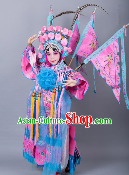 Traditional China Beijing Opera Female General Costume and Headwear Complete Set, Ancient Chinese Peking Opera Swordplay Military Officer Embroidery Pink Clothing for Kids