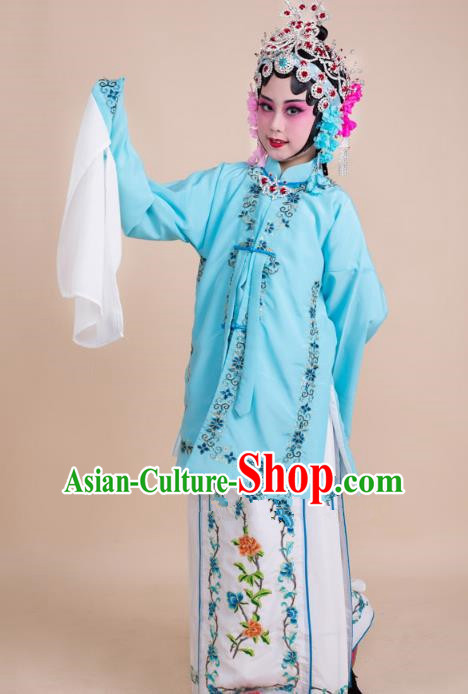 Top Grade Professional China Beijing Opera Costume Blue Embroidered Dress, Ancient Chinese Peking Opera Diva Hua Tan Embroidery Phoenix Clothing for Kids