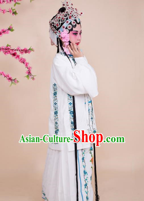 Top Grade Professional China Beijing Opera Costume White Embroidered Dress, Ancient Chinese Peking Opera Diva Hua Tan Embroidery Phoenix Clothing for Kids