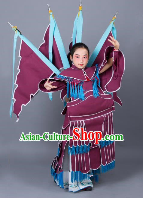 Traditional China Beijing Opera Female General Costume and Headwear Complete Set, Ancient Chinese Peking Opera Swordplay Military Officer Clothing for Kids