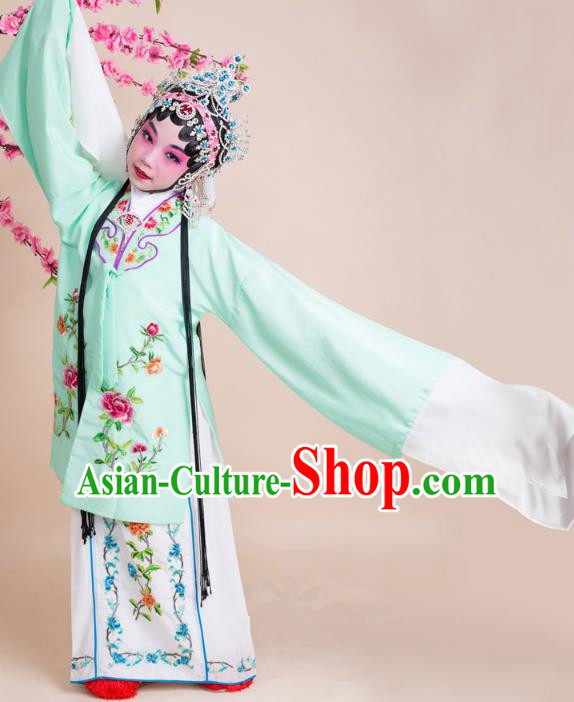Top Grade Professional China Beijing Opera Costume Green Embroidered Cape, Ancient Chinese Peking Opera Diva Hua Tan Embroidery Dress Clothing for Kids