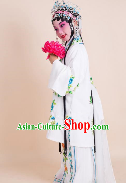 Top Grade Professional China Beijing Opera Costume White Embroidered Cape, Ancient Chinese Peking Opera Diva Hua Tan Embroidery Dress Clothing for Kids