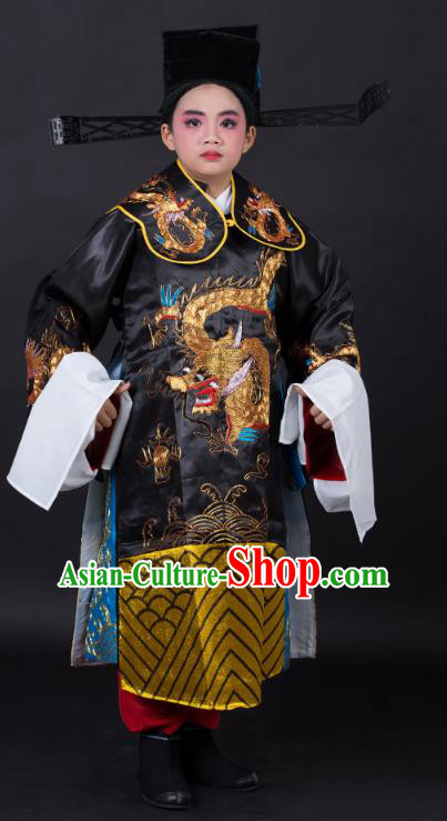 Traditional China Beijing Opera Costume Prime Minister Embroidered Robe and Headwear, Ancient Chinese Peking Opera Bao Zheng Embroidery Gwanbok Clothing for Kids