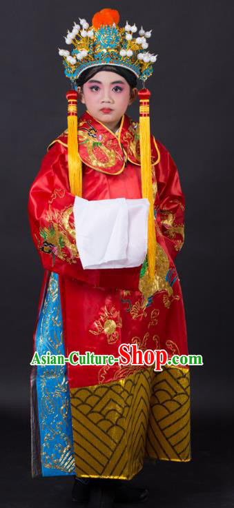 Traditional China Beijing Opera Costume Prime Minister Embroidered Robe and Headwear, Ancient Chinese Peking Opera God of Wealth Embroidery Gwanbok Clothing for Kids