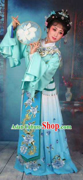 Top Grade Professional Beijing Opera Diva Costume Hua Tan Blue Embroidered Dress, Traditional Ancient Chinese Peking Opera Princess Embroidery Peony Clothing
