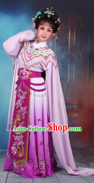 Top Grade Professional Beijing Opera Diva Costume Hua Tan Purple Embroidered Dress, Traditional Ancient Chinese Peking Opera Princess Embroidery Peony Clothing