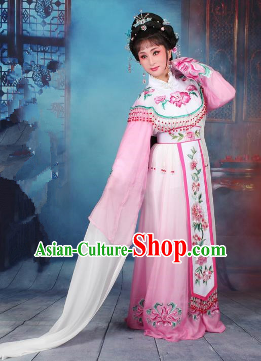 Top Grade Professional Beijing Opera Diva Costume Palace Lady Pink Embroidered Dress, Traditional Ancient Chinese Peking Opera Princess Embroidery Peony Clothing